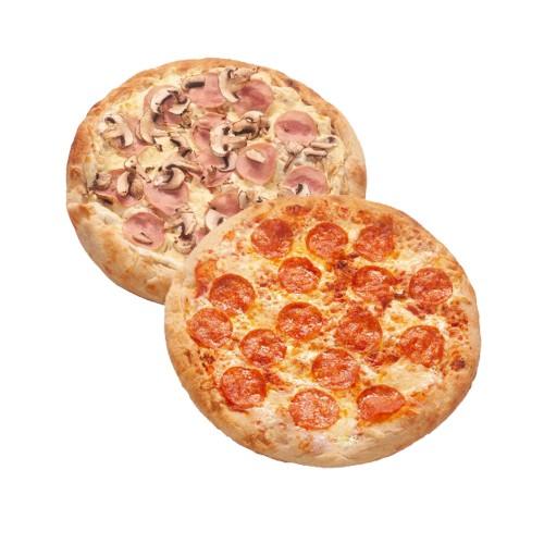 Римская пицца Ветчина грибы + Римская пицца Пипперони