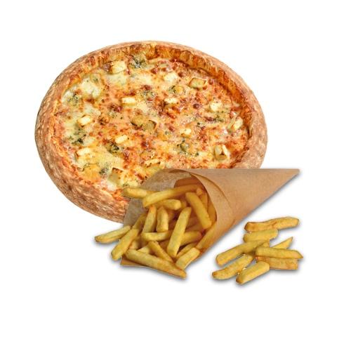 Картофель Фри в подарок при заказе пиццы 4 сыра 30 см.