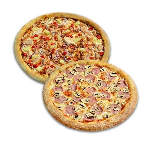 Пицца Гавайская 35 см. + пицца Ветчина-грибы 30 см. в подарок